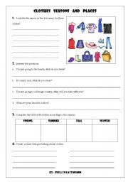 English Worksheet: clothes and seasons part II