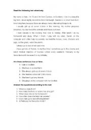 English Worksheets: reading comprehension about a girl�s life