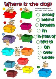 English Worksheets: Where�s the dog? - prepositions of place (B&W included)