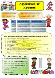 English Worksheet: Adjectives or Adverbs (B&W + key included)
