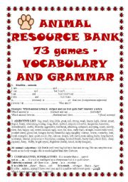 ANIMAL RESOURCE BANK - 73 games, ideas, grammar, links, vocabulary lists for EFL, + Boardgame, Poster - 21_PAGES