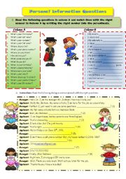 English Worksheet: Personal Information questions + (B&W)