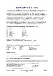 English Worksheet: British food - worksheet