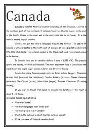 English teaching worksheets: Canada