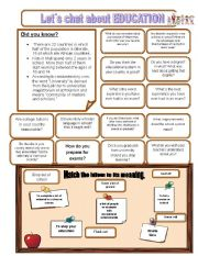 English Worksheets: Let�s chat about EDUCATION
