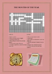 English worksheet: Months of the Year Crossword