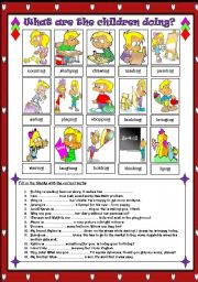 English Worksheet: Verb + ing => What are the children doing?