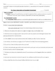 Printables Independent And Dependent Clauses Worksheet independent dependent clauses worksheet