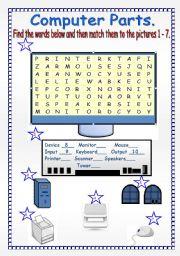English Worksheet: COMPUTER PARTS.