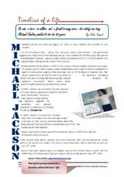 English Worksheets: Michael Jackson�s timeline