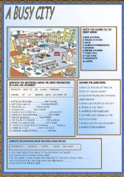 English Worksheets: A BUSY CITY