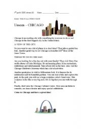 English Worksheet: reading passage on Chicago,USA