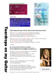 English Worksheet: Song Activity with simple present (Taylor Swift)