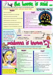 English Worksheets: THE HOUSE IS SAID... / MADONNA IS KNOWN..