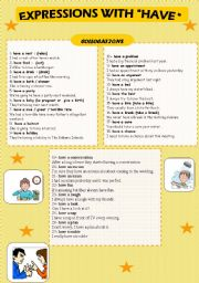 English Worksheets: EXPRESSIONS WITH ��HAVE��