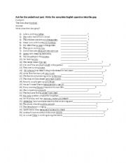 English Worksheets: Ask for the underlined part-English questions