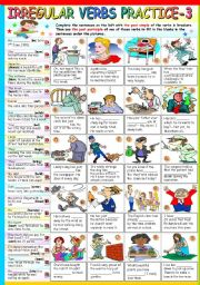 English Worksheet: IRREGULAR VERBS PRACTICE (3)- KEY INCLUDED