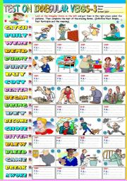 TEST ON IRREGULAR VERBS (3) - KEY INCLUDED