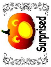English Worksheet: 5 Little Jack O´ Lanterns flashcards - Facial Expressions