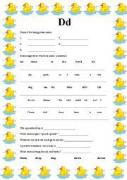 English worksheet: The D sound worksheet