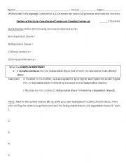 English Worksheet: Complex & Compound-Complex Sentences Worksheet