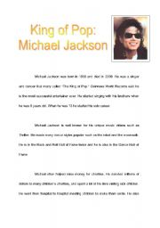 English Worksheets: King of Pop Reading comprehension
