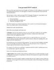 English Worksheets: personal swot analysis