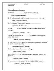English worksheet:  vocabulary worksheet