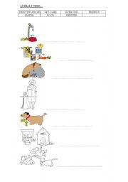 animal worksheet new 836 pets needs worksheets. Black Bedroom Furniture Sets. Home Design Ideas