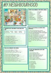 English Worksheet: MY NEIGHBOURHOOD
