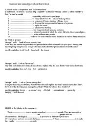 English Worksheet: Streotypes about the British