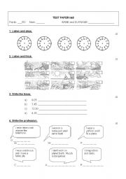 English Worksheet: Happy street 2 - Test paper