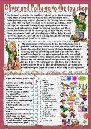 English Worksheets: Oliver and Polly go to the toyshop
