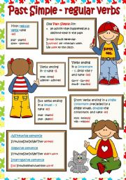 English Worksheet: Past Simple - regular verbs *3pages - grammar guide + 4 tasks* (B&W + KEY included)