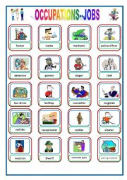 English Worksheet: OCCUPATIONS - JOBS Flashcards 1 of  3