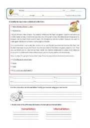 English Worksheets: Test on application letter
