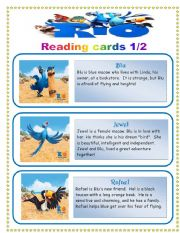 English Worksheets: Rio the movie- reading cards set 1/2