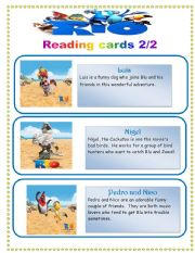 English Worksheets: Rio the movie- reading cards set 2/2