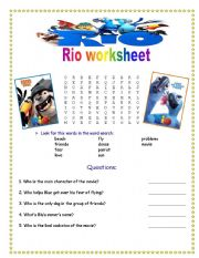 English Worksheets: Rio the movie-worksheet (Game and comprehension questions)