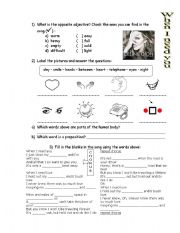 English Worksheet: When I need you - C�line Dion song with exercises and answer key