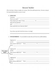 Resume Cv Builder 2 Pages Esl Worksheet By Aar269