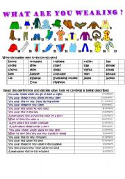English Worksheet: What are you wearing