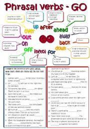 English Worksheets: Phrasal verbs - GO (B&W + KEY included)