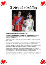English Worksheet: Kate and William - A Royal Wedding