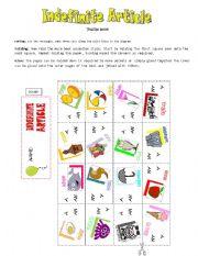 English Worksheet: INDEFINITE ARTICLE-Puzzle book