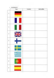 English worksheet: Nationalities worksheets