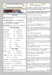 English Worksheet: LET�S PRACTISE REPORTED SPEECH! PART II- STATEMENTS AND QUESTIONS
