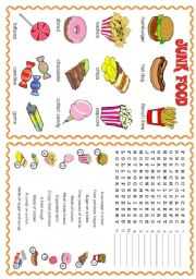 English Worksheet: JUNK FOOD