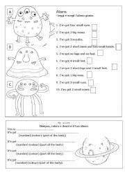 English Worksheet: aliens