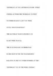 English Worksheet: was/were jumbled sentences